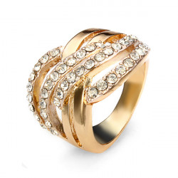 24K Gold Plated Cross Rhinestone Crystal Ring Women Jewelry