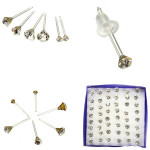 24 Pairs Clear Round Crystal Ear Stud Anti-allergy Earrings Women Jewelry