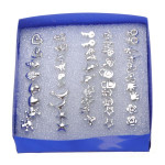 24 Pairs Multi-style Electroplating Ear Stud Anti-allergy Earrings Women Jewelry