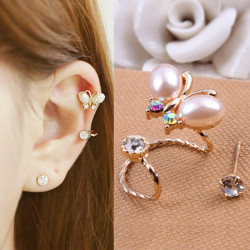 2Pcs Butterfly Flower Rhinestone Ear Cuff Clip Studs Gold Plated