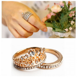 2Pcs Elegant Gold Silver Crystal Rhinestone Crown Rings For Women