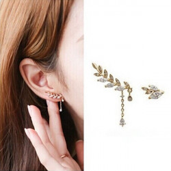 2pcs Crystal Rhinestone Leaf Ear Stud Earrings Women Jewelry