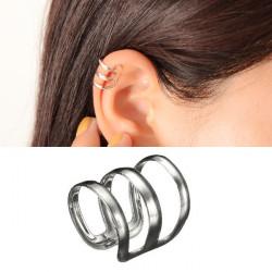 2pcs Silver Tone U Shaped Hollow Out Ear Cuff No Piercing Clip