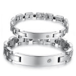 316L Stainless Steel Crystal Energy Magnetic Stone Couple Bracelet Fine Jewelry