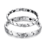 316L Stainless Steel Health Energy Magnetic Stone Couple Bracelet