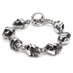 316L Stainless Steel Skull Toggle Bracelet Silver Tone Men Jewelry