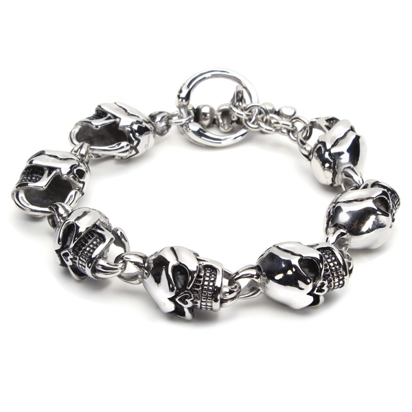 316L Stainless Steel Skull Toggle Bracelet Silver Tone Men Jewelry Fine Jewelry
