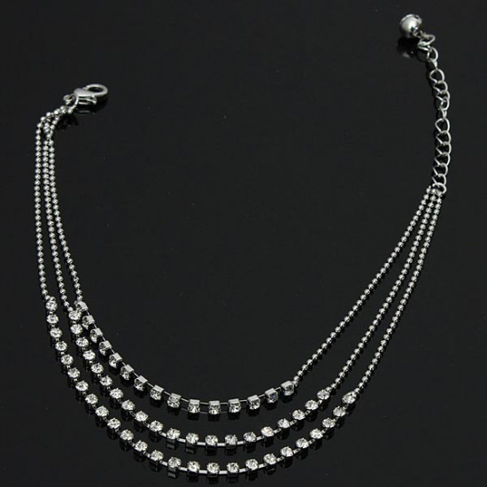 3 Rows Silver Clear Crystal Chain Anklet Bracelet Jewelry 2021
