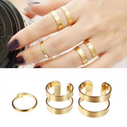 3pcs Silver Gold Hollow Opening Knuckle Finger Ring Masters Sun