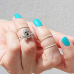 4Pcs Gold Silver Skull Knuckle Stacking Mid Finger Rings Set Women Jewelry