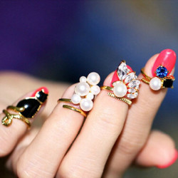 4pcs Black Cat Blue Crystal Pearl Nail Rings Women Jewelry