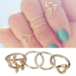 4pcs Rhinestone Leaves Heart Shaped Above Knuckle Rings Gold Plated