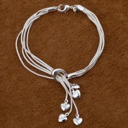 5 Layers Silver Tai Chi Hung Five Heart Pendant Bracelet Women Jewelry