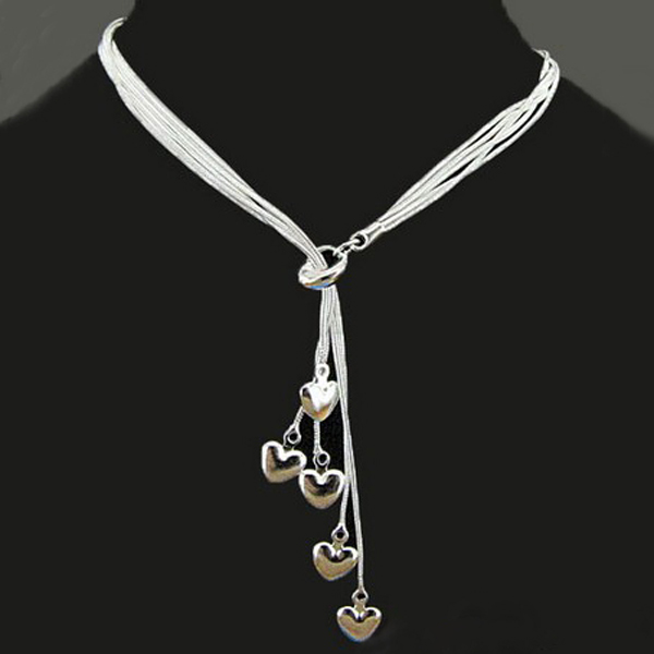 5 Layers Silver Tai Chi Hung Five Heart Pendant Necklace Women Jewelry Women Jewelry