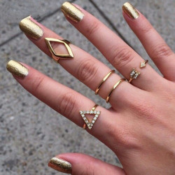5Pcs Crystal Geometry Triangle Stacking Knuckle Rings Set Gold Silver