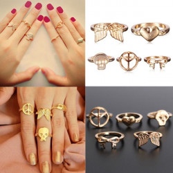 5pcs Gold Peace Bowknot Skull Wings Heart Stacking Above Knuckle Rings