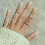 5pcs Gold Plated Leaf V Shape Stacking Above Knuckle Rings Set Women Jewelry