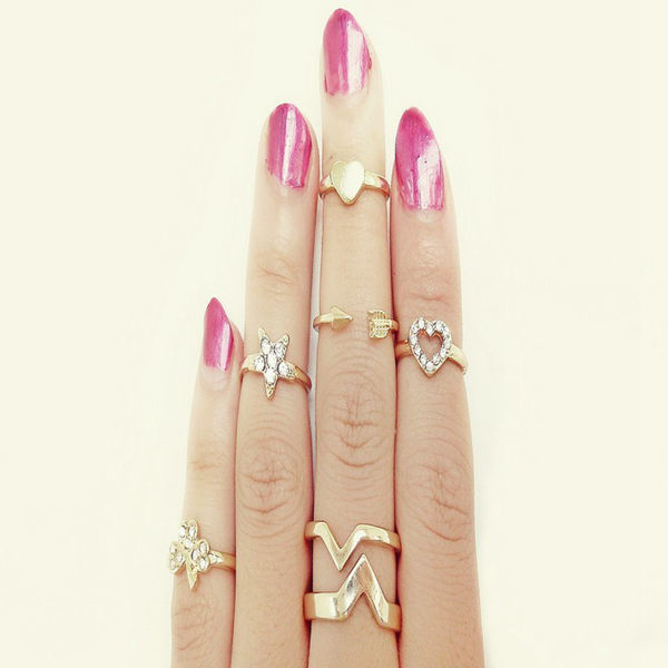 6Pcs Rhinestone Star Clover Heart Stacking Knuckle Rings Set Women Jewelry