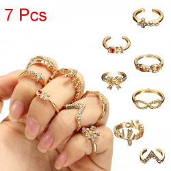 7Pcs Crystal Bowknot Cross Infinity Knuckle Rings Gold Plated Ring Set