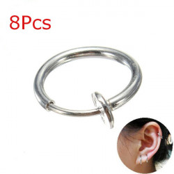8Pcs Clip On Fake Piercing Nose Lip Hoop Rings Earrings Stainless