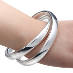 925 Silver Plated Cuff Bracelet Double Intersect Circle Bangle Unisex Fine Jewelry