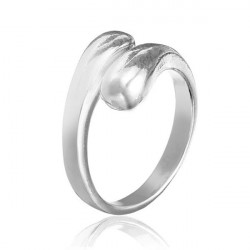 925 Silver Plated Double Round Head Opening Ring Jewelry