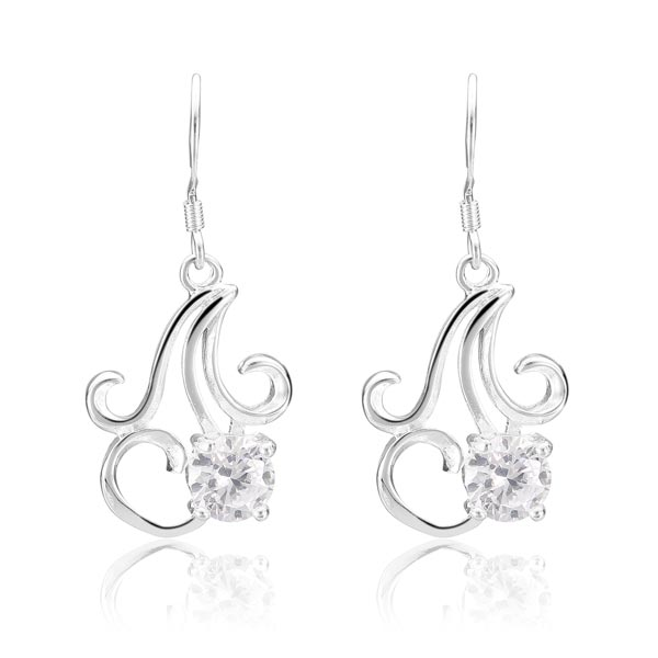 925 Silver Plated Earrings Crystal Chandelier Pendant Ear Drop Jewelry Women Jewelry