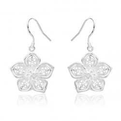 925 Silver Plated Earrings Flower Hollow Out Ear Drop Jewelry