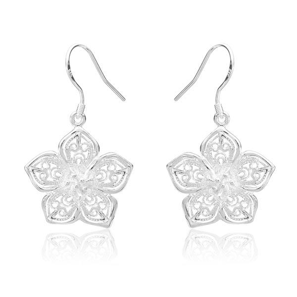925 Silver Plated Earrings Flower Hollow Out Ear Drop Jewelry Women Jewelry