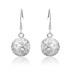 925 Silver Plated Earrings Heart Hollow Ball Pendant Ear Drop Jewelry