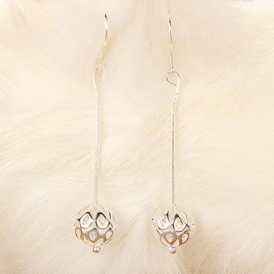 925 Silver Plated Earrings Hollow Ball Dangle Snake Chain Ear Drop 2021