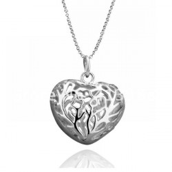 925 Silver Plated Hollow Heart Pendant Necklace Costume Jewelry