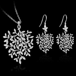 925 Silver Plated Leaves Branch Necklace Earrings Jewelry Set