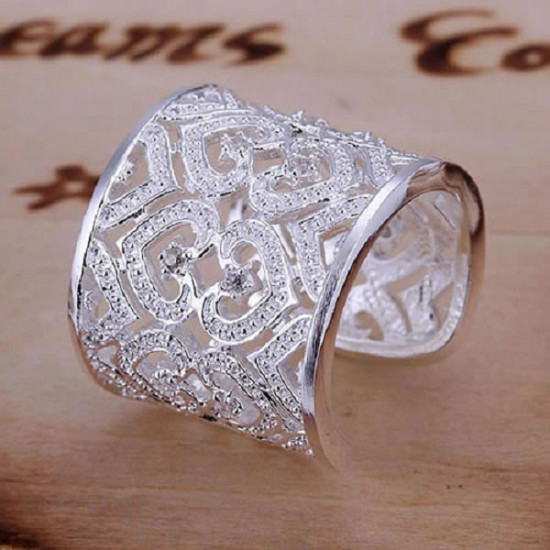 925 Silver Plated Rhinstone Heart Hollow Out Opening Ring Jewelry