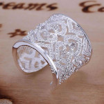 925 Silver Plated Rhinstone Heart Hollow Out Opening Ring Jewelry Women Jewelry