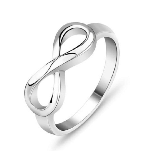 925 Sterling Silver Infinity Endless Love Symbol Ring Jewelry