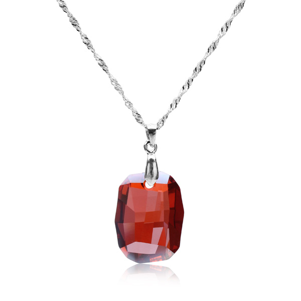925 Sterling Silver Rhombus Austrian Crystal Pendant Necklace Fine Jewelry