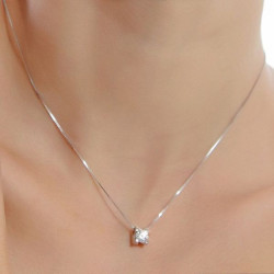 925 Sterling Silver Round Crystal Cubic Pendant Necklace For Women