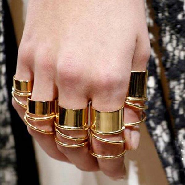 9pcs Heavy Metal Polishing Circle Glaze Finger Ring Gold Jewelry Women Jewelry