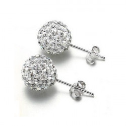 A Pair Shamballa 8MM Classic Crystal Disco Ball Earrings Ear Stud