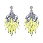 Acrylic Rhinestone Crystal Leaves Stud Earrings Luxury Jewelry Women Jewelry