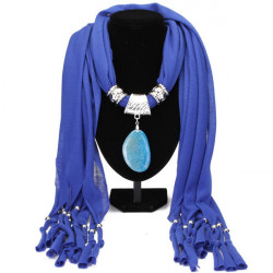 Agate Pendant Tassel Scarf Necklace Women Jewelry Autumn Winter
