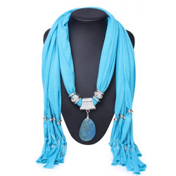 Agate Stone Pendant Tassel Polyester Scarf Necklace Women Jewelry