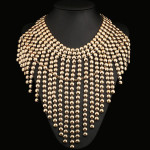 Alloy Chains Tassel Bubble Statement Chunky Necklace Gold Plated Fine Jewelry