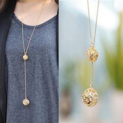Alloy Golden Hollow Double Balls Pendant Sweater Chain Necklace