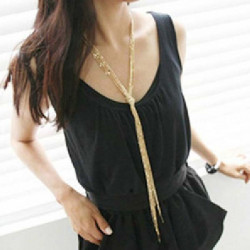 Alloy Golden Tassel Multilayer Knotted Sweater Chain Necklace