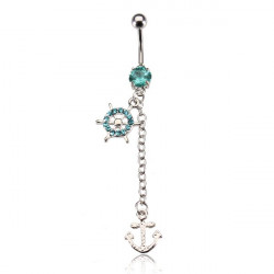 Anchor Wheel Rhinestone Navel Belly Ring Dangle Piercing Body Jewelry