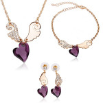 Angel Love Crystal Necklace Earrings Bracelet Jewelry Set 3pcs Fine Jewelry