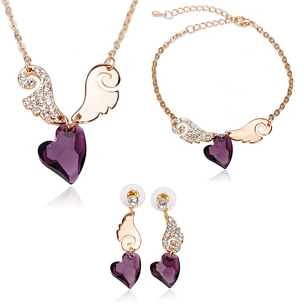 Angel Love Crystal Necklace Earrings Bracelet Jewelry Set 3pcs