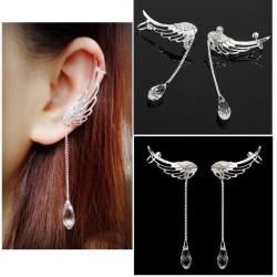 Angel Wings Crystal Drop Ear Clips Rhinestone Women Earrings